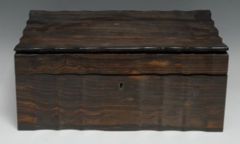 A 19th century Anglo-Indian/Ceylonese commode shaped work box, hinged cover enclosing a marquetry
