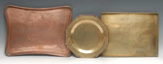 A 19th century copper incurved rectangular tray, engraved in the chinoiserie taste with Chinese