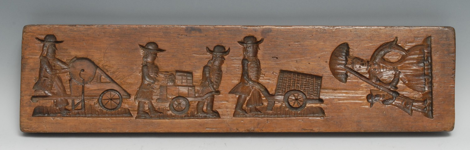 Treen - a rectangular gingerbread or biscuit mould, intaglio carved recto and verso with industrious