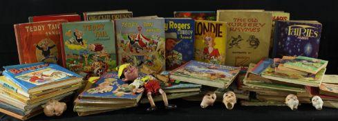 A collection of 19th century bisque dolls heads; a Pelham Puppet, Pinocchio; Books - children's