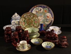 A Chinese Famille Rose plate; other blue and white; Chinese export ware vase and cover; red resin