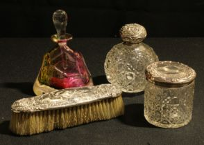 An Art Glass perfume bottle and stopper; a silver topped cut glass dressing table pot and scent