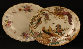 A Royal Crown Derby Olde Avesbury pattern oval serving platter, 37.5cm, second; a Posie pattern oval