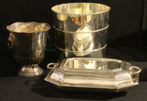 A silver plated wine cooler; an E.P.N.S ice bucket; an entree dish, by James Dixon & Sons (3)