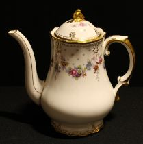 A Royal Crown Derby Royal Antoinette pattern coffee pot and cover, 22cm, printed marks, second
