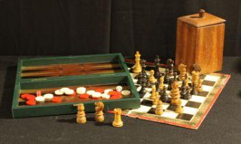 A Staunton type chess set; a backgammon game (2)
