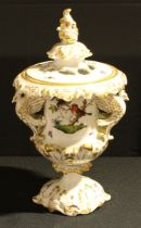 A Hungarian Herend Porcelain two handled campana shaped pedestal pot pourri vase and cover,