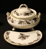 A Royal Crown Derby Portman Oak pattern vegetable dish and cover, second; a similar crescent