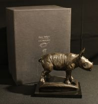 Gary Hodges, a dark patinated bronze, baby rhino, Wobbly, limited edition 34/150, 28cm x 22cm, boxed