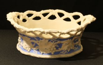 A 19th century Parian Ware basket, moulded with fruiting vine, open work trellis border, 26cm