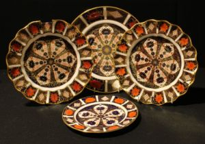 A Royal Crown Derby Imari palette 1128 pattern bread and butter plate, 25cm, second; an 1128 pattern