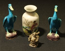 A Chinese Republican vase, 10cm high, red seal mark; a pair of models of ducks, glazed in tones of
