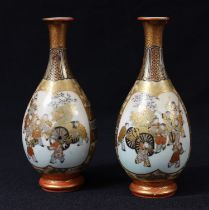 A pair of Japanese Satsuma bottle vases, 14cm, character marks