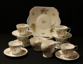 A Shelley Wild Flowers pattern tea set for six, milk, sugar, bread and butter plate, pattern