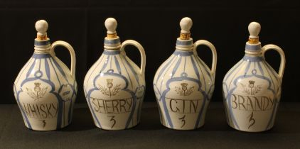 A set of four Scottish Buchan Stoneware flagons, Portobello, Whisky, Gin, Sherry and Brandy, 22cm,