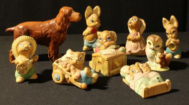 A Beswick model of a red setter; a Beswick Beatrix Potter Old Mr Brown owl model; assorted Pendelfin