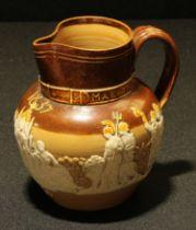 A Doulton Lambeth salt glazed stoneware royal commemorative jug, Queen Victoria's Golden Jubilee