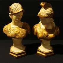A pair of cast metal cold painted classical busts, Greek Gods, male and female, 37.5cm