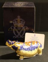 A Royal Crown Derby paperweight, Hippopotamus, Gold backstamp, limited edition 110/2,500, gold