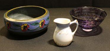 An Art pottery bowl; a Denby art glass bowl; a Copenhagen jug (3)