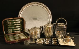Plated - a glass biscuit barrel, plated cover; a fish knives and forks, silver ferrules, faux
