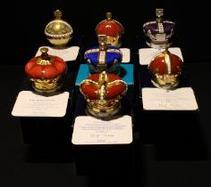 A Royal Crown Derby paperweight, royal commemorative crown, Prince of Wales Coronet, gold stopper,