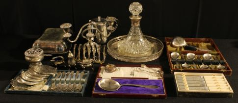 A silver mounted Ship's decanter, 22cm high, Birmingham 1950; a plated entree dish, a three light