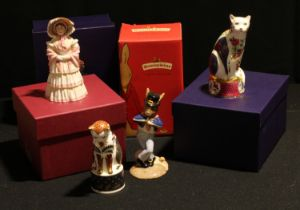 A Royal Worcester candle snuffer, Nelson Cat, boxed; another, Giles Cat, boxed; a Bronte for Goviers