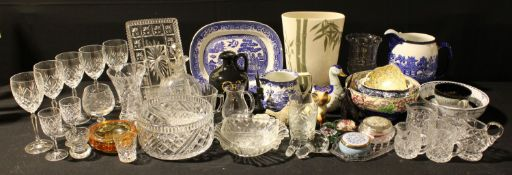 A Royal Doulton Willow pattern ovoid jug; a Maling Lustre bowl; Denby teacup and saucer;