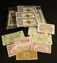 A collection of Armed Forces bank notes, £5 notes in consecutive order; other similar notes, in an