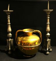 A Middle-Eastern gilt brass ovoid vessel, the waist applied with a rope twist girdle, rounded
