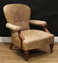A Victorian oak library chair, by Johnstone and Jeanes, 67 New Bond Street, London, stamped,
