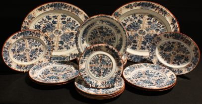 A late 19th century Wedgwood Ningpo pattern part dinner service, comprising graduated meat plates,