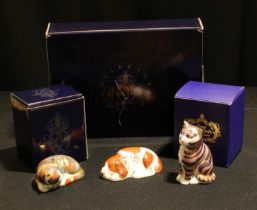 A Royal Crown Derby paperweight, Collector's Guild Puppy, gold stopper, boxed; others, Catnip