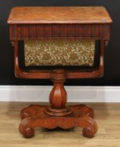 A Victorian oak work table, rounded rectangular top with moulded edge above a frieze drawer and
