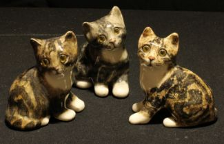 A set of three Winstanley tabby kitten models, glass eyes, each approx. 12cm
