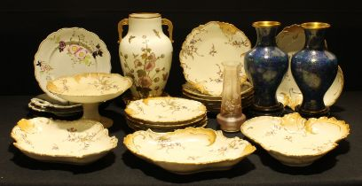 An early 20th century Limoges dessert service; a Victorian Moore Bros. Aesthetic Movement two
