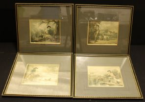 George Morland, after, a set of four, Snipe Shooting, Partridge Shooting, Duck Shooting, coloured