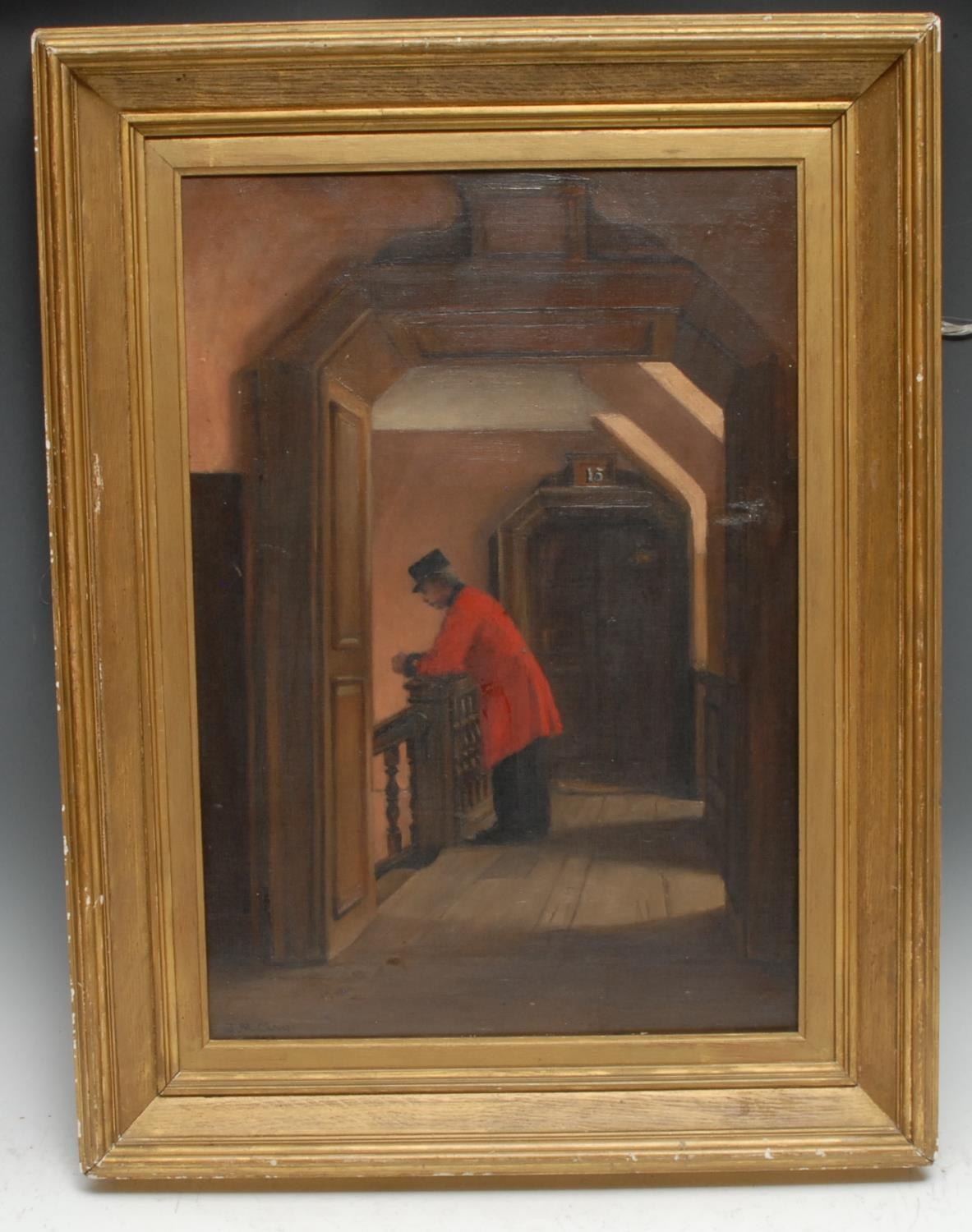 J**M**Clay Chelsea Pensioner signed, oil on canvas, 49cm x 33cm - Image 2 of 4