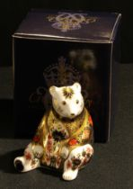 A Royal Crown Derby paperweight, Imari Bear, gold stopper, boxed