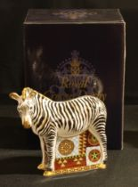 A Royal Crown Derby paperweight, Zebra, gold stopper, certificate, boxed