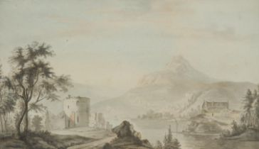 Continental School (early 19th century) Castle Ruins by a Lake sepia watercolour, 24cm x 39cm