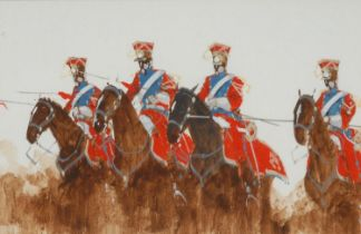English School Lancers on Horseback indistinctly signed, watercolour and gouache, 18.5cm x 28cm