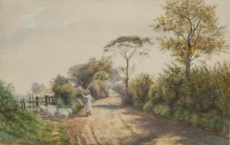 M**Macdonigall (late 19th century) Herding The Sheep watercolour, signed, 28cm x 44cm