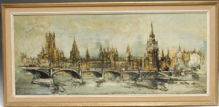 Ben Maile (1922-2017) The House of Parliament from the River Thames signed, oil on board, 36cm x