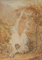 English School (late 19th century) Betws-y-Coed Waterfalls watercolour, cm x 23.5cm