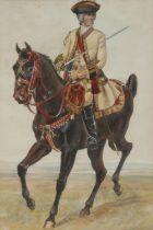 English School 7th Dragoon Guard Officer on Horseback watercolour, 25cm x 16.5cm