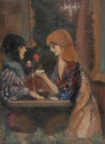 Gerald Rapson Girls Talking signed, oil, labelled to verso, 37.5cm x 27.5cm