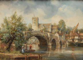Roderick Lovesey Aylesford Bridge, Medway, Kent signed, oil on board, 21cm x 29cm