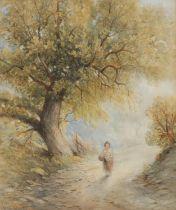 John Wright (19th century) Quiet Walking Home signed, watercolour, 26cm x 21cm